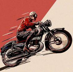Vintage Motorcycle Drawings | Inazuma café racer: Vintage motorcycle art