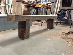 Outdoor timber bench. Built from recycled timber railway sleeper.   www.tomstimberfurniture.com