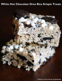 White Hot Chocolate Oreo Rice Krispie Treats