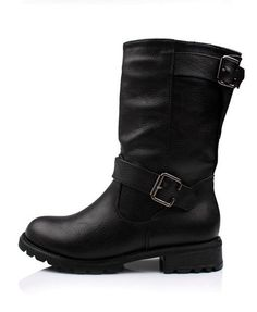 Retro Black Oxhide Leather Flat Boots