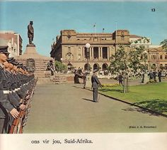In memorium of Republic Day, before the take-over of the ANC. The land was well-structured, police and army were disciplined, the streets were clean and crime wasn't the horror it is today. In Memorium, Republic Day, South Africa, Louvre, Army, Street, Building, Police, Horror