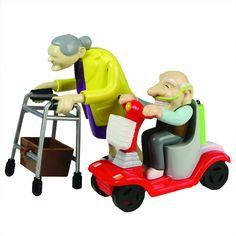Rennen Oma und Opa, Aufziehspielzeug, Kunststoff, 2er Set - das Grannies Geschenk für Großeltern Aufziehfiguren mit Rollator und Mobil: Amazon.de: Spielzeug
