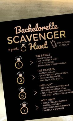 Black and Gold Bachelorette Party Game | Bachelorette Party Scavenger Hunt Activity | Printable Bachelorette Activity