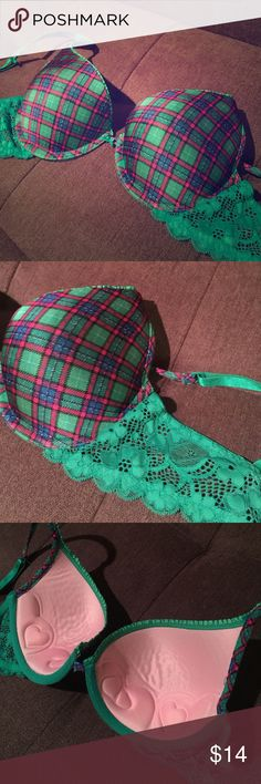 Green red and blue plaid Bra With slight push up only been worn once! Like new Victoria's Secret Intimates & Sleepwear Bras