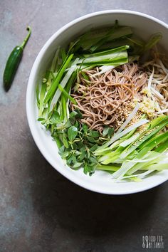 Purslane and Soba Noodle Salad