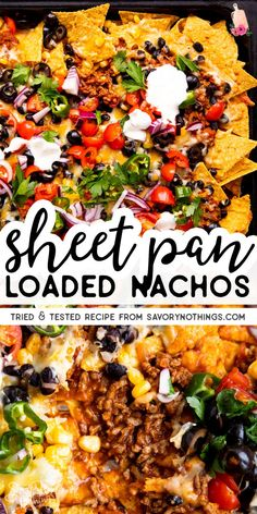 Are you ready for the big game? These Sheet Pan Nachos are positively loaded with beef, cheese, salsa, olives and more! They are so easy to pull together in just 15 minutes and make for a total crowd pleaser. | #sheetpan #nachos #biggame #gameday #gamedayfood #gamedaysnacks #fingerfood #footballfood #footballsnacks #footballparty