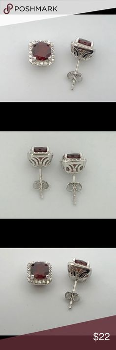 Natural Garnet & Created White Sapphire Earrings 925 Sterling Silver Earrings  Natural Garnet is 6 mm Round Each  Side Stones are Created White Sapphire  Earrings are 8.25 mm New Earrings  Comes in Gift Box Jewelry Earrings