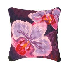 Cross Stitch Kit Flowers in The Evening Printed Tapestry Canvas European Quality Throw Pillow 16/×16 Inches