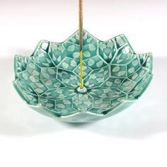Lotus Blossom Incense Burner Emerald Green by BarchilonCeramics