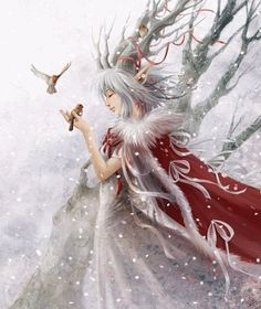 Winter Fairy | winter+fairy+with+birds.gif Snow Fairy, Winter Fairy, Winter Magic, Yule, Fantasy World, Fantasy Art, Christmas Fairy, Xmas, Merry Christmas
