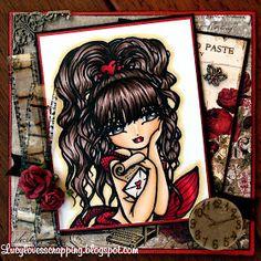 "Lucy loves scrapping: Love letter card (Hannah Lynn image) ""Love Letter"" Message in a Bottle Mermaid Digi Stamp, HannahLynn.com"