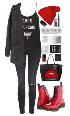 """Dust In The Wind"" by ellac9914 ❤ liked on Polyvore featuring Topshop, H&M, Dr. Martens, RED Valentino, Happy Plugs, MAC Cosmetics, Byredo, NARS Cosmetics, Winter and casual"