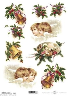 Rice Paper Decoupage Decopatch Sheet Vintage Christmas Holly Angels Motifs