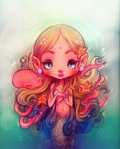 """Octopus Tangles""  #flyokay  Graphite + Digital. 2015.  Tags: #illustration #whimsical #fantasy #art #kawaii #mermaid"