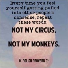 Not my circus. Not my monkeys.1. Does this situation really involve me? 2. If the situation doesn't really involve me, what is my motivation for getting involved? 3. What will it cost me to get involved? We're talking time, money, stress, etc. 4. Can I really bring something to the table that will help all parties get to a better resolution? 5. What will happen if I decline to participate in this situation?