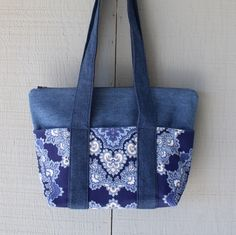 Denim Zipper Top Tote with Six Outside Pockets, Two Interior Pockets, Denim Straps and Accented with Canvas Kaleidoscope Lining - 398749859 by AllintheJeans on Etsy