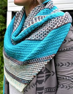Free until September 1, 2018 Knitting Pattern for Mosaica Shawl - There are no fancy colourwork techniques here -- just one yarn is used at a time in simple two-row stripes, and the patterns are formed by slipping stitches, simply moving them from one needle to the other without knitting them. Designed by Amanda Schwabe.