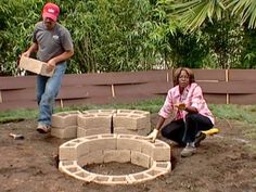 How To Construct a Firepit  This firepit is constructed of firebrick with a concrete cap that has an Old World look of weathered stone. Pea gravel surrounds the firepit.