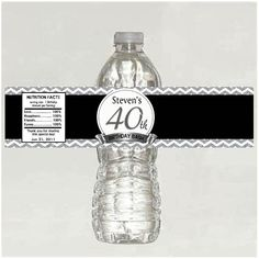 Personalized 40th Birthday Water Bottle Labels