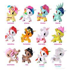 Tokidoki has released 12 all new Unicornos to the ever expanding family of magical ponies! New Unicornos include Rosa Latte, Prisma, Kaijucorno, Wasabi (Chase 1/50), Kinoko, Valentino, Diamante (Chase