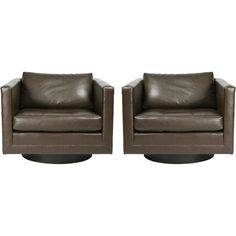 Pair of Swivel Cube Lounge Chairs by Harvey Probber