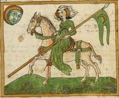 Sammelhandschrift mit astrologisch-mantischem Kompendium The Moon Represented as a Woman on Horseback Ulm, Augsburg 1465 Ms. Ludwig XII 8   Folio NP Ulm, Augsburg 1465 Ms. Ludwig XII 8   Folio NP