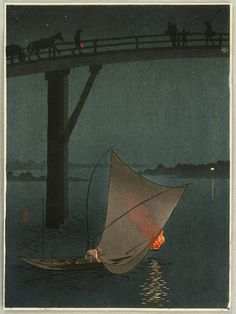 """Bridge in Twilight"" by Yoshimune Arai, ca. 1900-1910"