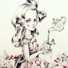 Can't wait to get home and work some more on a very special commission painting that is based on this #alice drawing  by cookienamnam