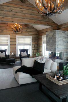 Koselig hytte i Røldal Cabin Homes, Log Homes, Ideas Cabaña, Log Home Interiors, Interior Desing, Bedroom Retreat, Interior Design Living Room, Restaurant, House Design