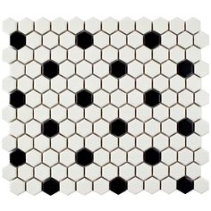 Merola Tile Metro Hex Matte White with Black Dot 10-1/4 in. x 11-3/4 in. x 6 mm Porcelain Mosaic Tile (8.54 sq. ft. / case)-FDXMHMWD - The Home Depot