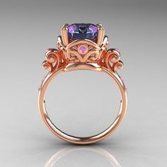 Modern Vintage 14K Rose Gold 2.5 Carat Alexandrite and Light Pink Sapphire Engagement Ring