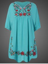 Plus Size Embroidered Bib Babydoll Dress