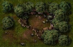 Modular forest - Goblin Outpost, a printable and online battle map for Dungeons and Dragons / D&D, Pathfinder and other tabletop RPGs. Tags: forest, camp, campfire, outpost, fantasy, encounter, goblin, combat, print, roll20, fantasy grounds