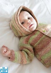 Easy Knits For Kiddies Brand: Elle Count: Double Knit Yarn: Pure Gold DK Print Size From: 3 months Size To: 4 years Hooded Cardigan, Double Knitting, Baby Patterns, Knitting Yarn, 4 Years, 3 Months, Knits, Baby Kids, Count