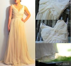 Peach Chiffon Gown With Lace And Beads By Tingbridal On Etsy Wedding Dress