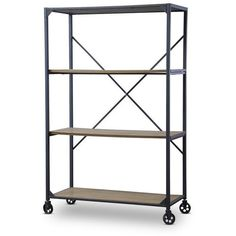 Uniting utility and convenience, our Cimbria Wood and Metal Bookcase makes the most of a basic, solid design. This vintage industrial rustic bookcase features a great-looking distressed ash-veneer woo