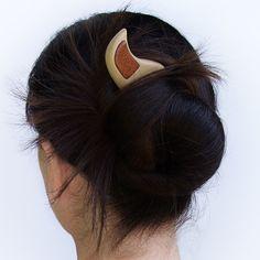 Wooden hair fork hair stick 2 prong wood by mariya4woodcarving