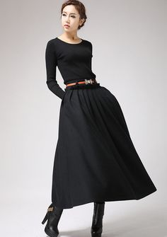 Make a statement with this black wool maxi skirt. This is an effortlessly chic full skirt which will go with literally everything you own.  The long pleated skirt has a beautiful flow and movement and is extremely comfortable and warm to wear. Being so long, you can even wear this without tights and simply wear it with warm socks and boots.  9 More Choice of this skirt https://www.etsy.com/treasury/Nzc2ODUxMnwyNzI4MzYxNzI4  DETAILS: * soft wool blend * 2 hip pockets * side...