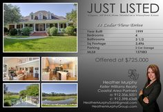 Just Listed! 11 Cedar View Dr MLS# 137583  Offered at $725,000 Heather Murphy 912-398-6368 Keller Williams Realty- Coastal Area Partners 912-356-5001