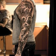 Angel Sleeve Tattoo - Best Sleeve Tattoos For Men: Cool Full Sleeve Tattoo Ideas and Designs Angel Sleeve Tattoo, Best Sleeve Tattoos, Body Art Tattoos, Cool Tattoos, Angel Tattoo Men, Tattoo Art, Cloud Tattoo Sleeve, Tattoo Sleeves, Tiger Tattoo