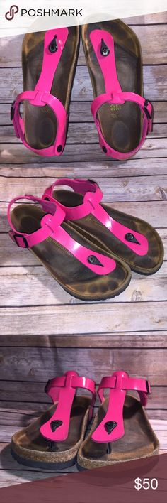 Rare**Women's Birkenstock Sandals Good Used Condition. Plenty of wear left. Sz. 39. Minor scuffs on inside strap as can nearly be seen in last pic. Color is Hot Pink Birkenstock Shoes Sandals
