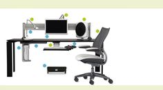 Humanscale Ergonomic Tip: Ergonomic Workstation - Ergonomic Basics: The use of computers and rapidly changing technology in the modern workplace has greatly increased the need for ergonomics. Desks, chairs, monitors, keyboards and lighting all need to be assessed when creating a workspace, whether it is at the office or at home.