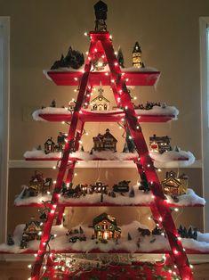 Mom's Christmas village display! Simply beautiful!