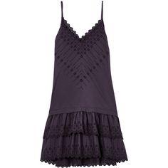La Vie Alice Eyelet Dress ($295) ❤ liked on Polyvore featuring dresses, flutter-sleeve dress, scalloped dress, cotton ruffle dress, scalloped edge dress and flouncy dress