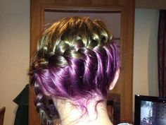 Sidewards braid on my little cousins hair....loving the purple too