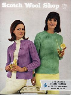 """vintage womens cardigan . sweater . knitting pattern PDF ladies jacket jumper 34-40"""" DK light worsted 8ply Instant download by coutureknitcrochet on Etsy"""