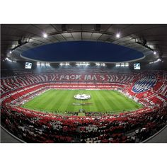 Fototapete FCB Stadion Choreo Pack Ma´s, 350 x 250 cm Fc Hollywood, Fc Bayern Munich, Robert Lewandowski, Bavaria, Baseball Field, Germany, Wall Art, Architecture, Bunt