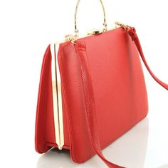 Amazon.com: Retro Leatherette Hardware Shoulder Handbag Purse (Red): Shoes