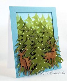 Created by Kittie Caracciolo  - Impression Obsession Deer Trio die.  No one can match Kittie when it comes to working with dies. Her layering skills are awesome.  She has a lot of tree cards to admire here:   http://kittiekraft.typepad.com/kittiekraft/trees/