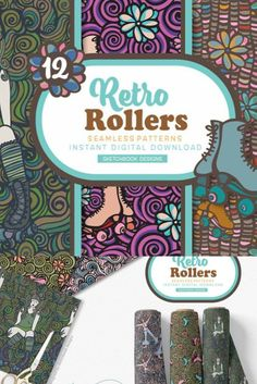 12 Retro roller skate girl patterns, old school design with swirls and flowers. These fun vintage roller skate doodle patterns were inspired by my retro childhood, fun Sunday afternoon days and skating rinks.